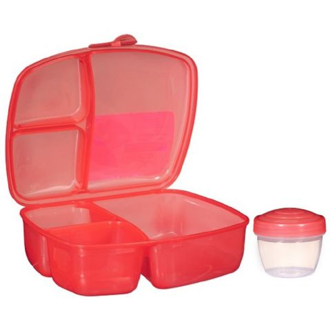 Packed Lunch Salad & Ready Meal Box with Compartments & Pot (Red)
